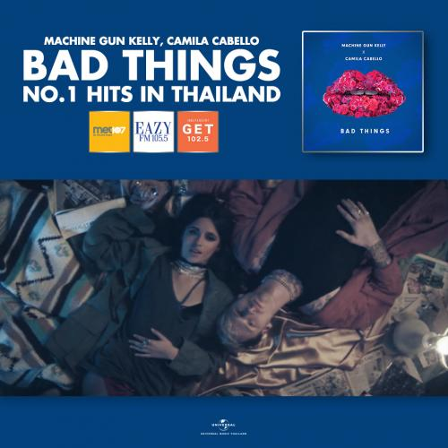 """ไชโย! """"Bad Things"""" ทะยานขึ้นอันดับ 1  ชาร์ตวิทยุประเทศไทย!"""