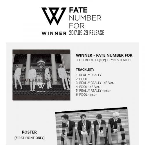 อัลบั้ม FATE NUMBER FOR ของ WINNER  เตรียมวางขายที่ไทยในรูปแบบซีดี วันที่ 29 กันยายนนี้